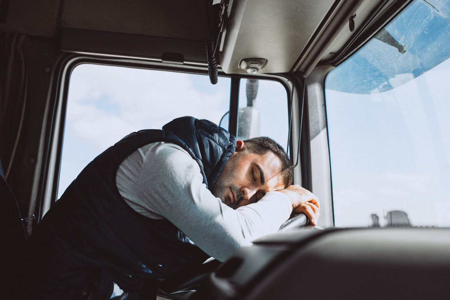 driver sleeping in truck