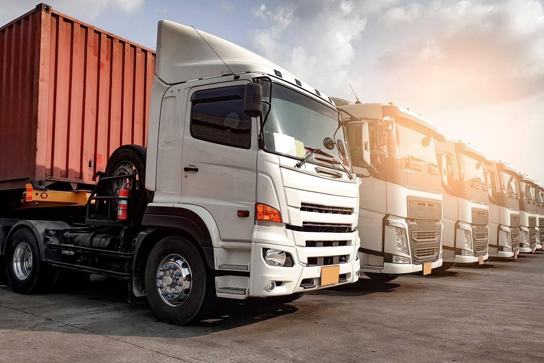 trucks and sunset