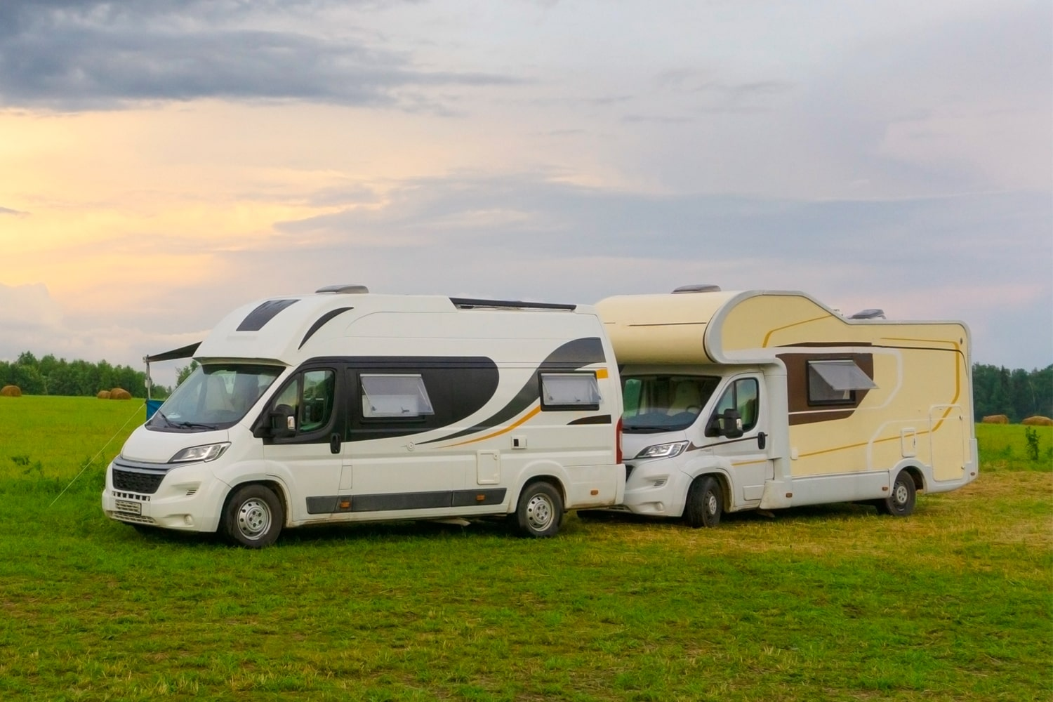 two RV on road